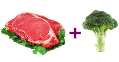 Kết hợp thịt bò giàu sắt và súp lơ xanh chứa nhiều vitamin C. Ảnh: Prevention