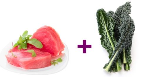 Kết hợp cá ngừ cùng cải xoăn để tăng sức khỏe xương. Ảnh: Prevention