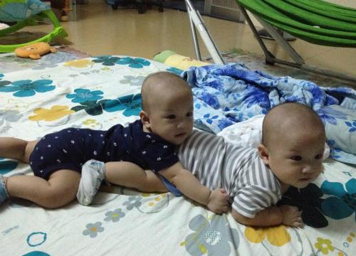 Hai bé trai song sinh của chị Thu Dung hiện kháu khỉnh, đáng yêu. Ảnh: G.Đ