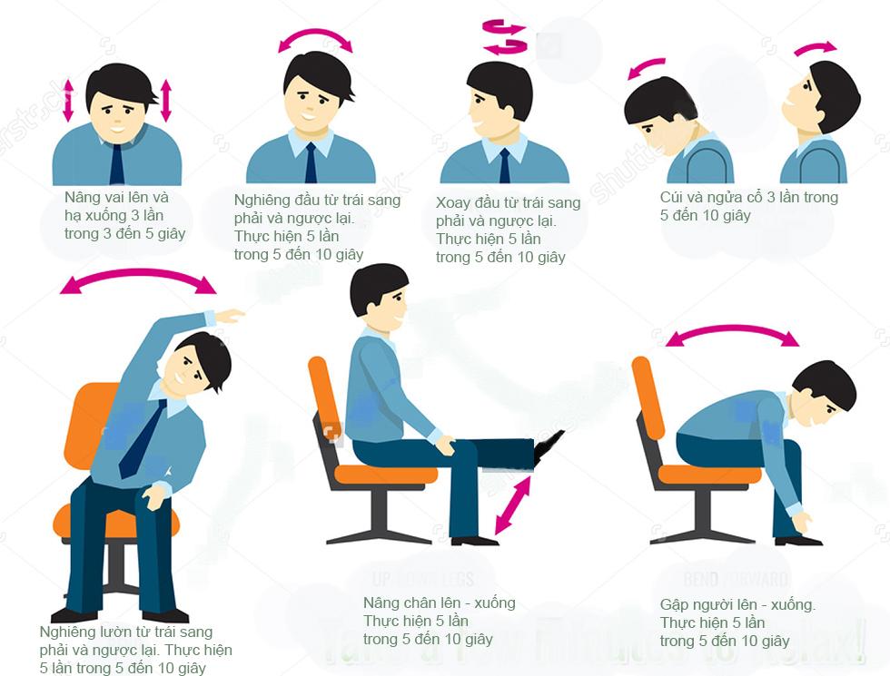 Bài tập tại chỗ giúp dân văn phòng hết đau mỏi cổ, vai, gáy