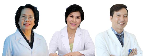Giáo sư, Tiến sĩ Nguyễn Thị Ngọc Phượng; Tiến sĩ, bác sĩ Lê Thị Thu Hà; Thạc sĩ, bác sĩ Lê Văn Hiền (từ trái sang).