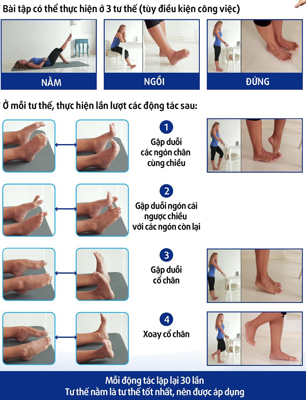 Bài tập ở 3 tư thế chống suy tĩnh mạch chân