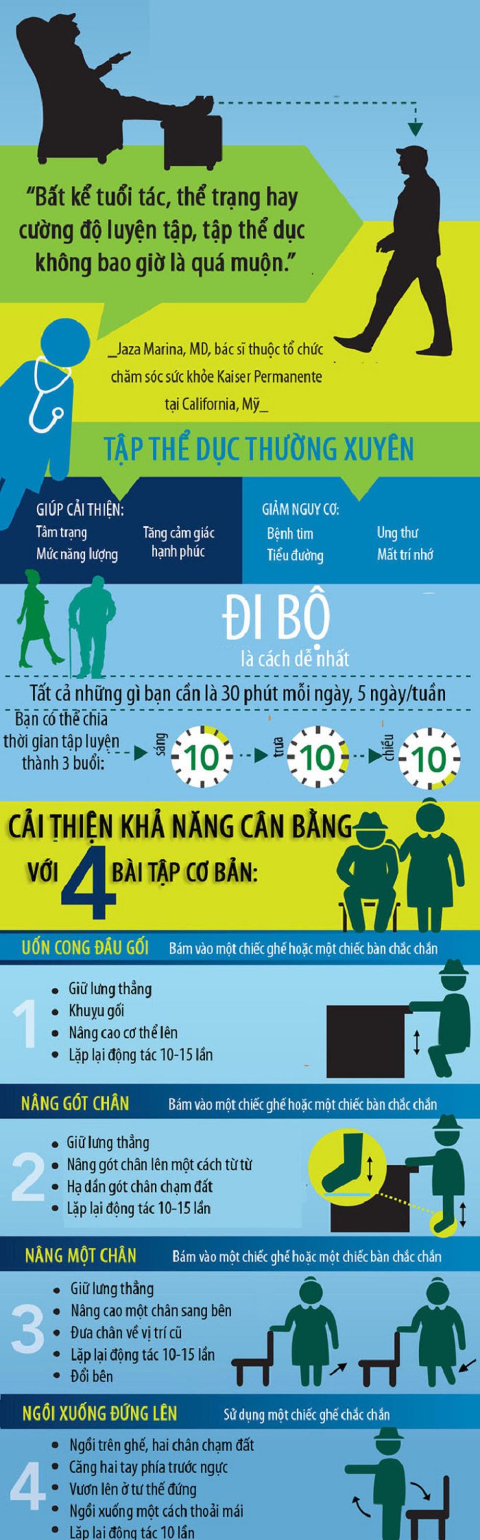 Bài tập nhẹ nhàng giúp người lớn tuổi luôn khỏe