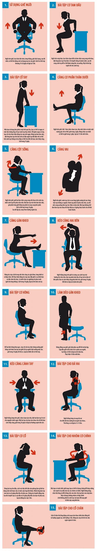 15 bài tập tại bàn làm việc giảm đau mỏi cho dân công sở