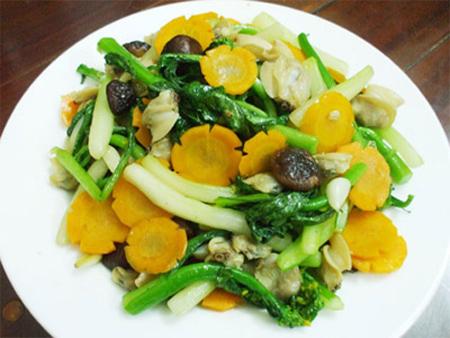 Image result for cải ngọt xào nghêu