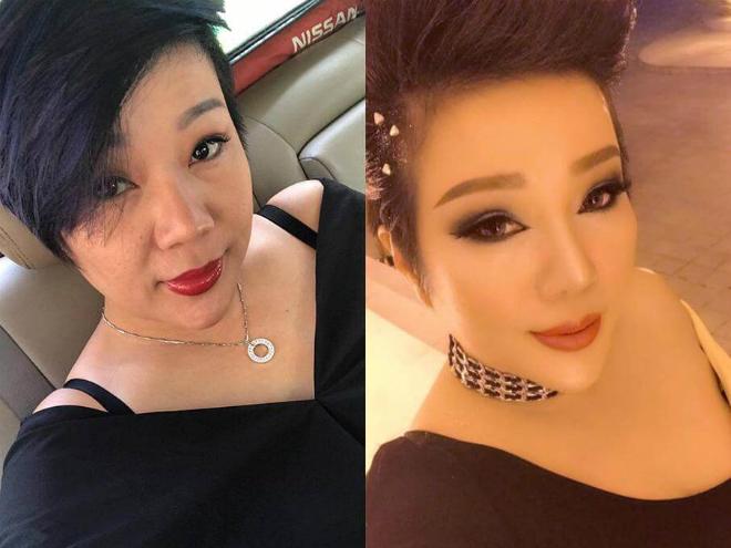 Chị Trang trong quá khứ (trái) và sau 10 năm (phải).