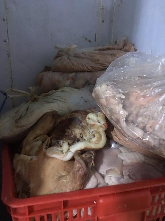 Container chứa gần sản phẩm động vật không rõ nguồn gốc tại Hóc Môn. Ảnh: ATTP.