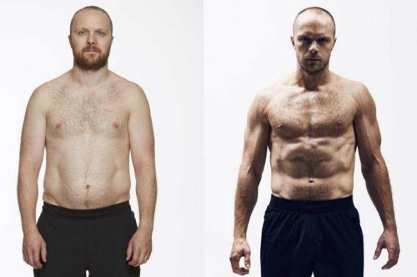 David thay đổi sau 9 tuần tập luyện. Ảnh: M.H
