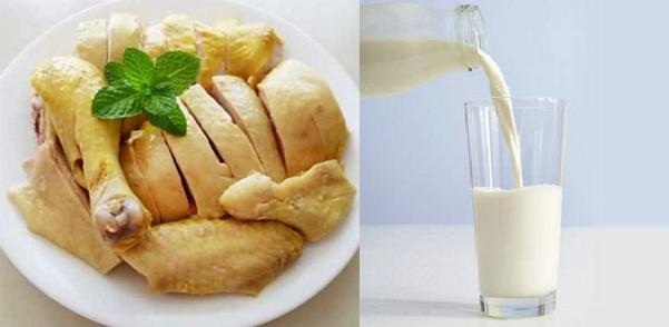 Không nên ăn kết hợp thịt gà với sữa. Ảnh: L.N