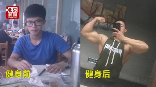 Zhang trước và sau khi tập thể hình. Ảnh: Medium.