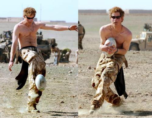 Hoàng tử Harry khoe thân hình săn chắc khi còn tham gia quân đội. Ảnh: Pinterest.
