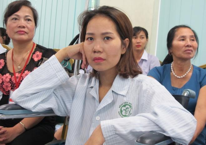 Việc bệnh nhân sống sót thực sự là điều kỳ diệu. Ảnh chị Liễu trong ngày xuất viện: N.Phương.