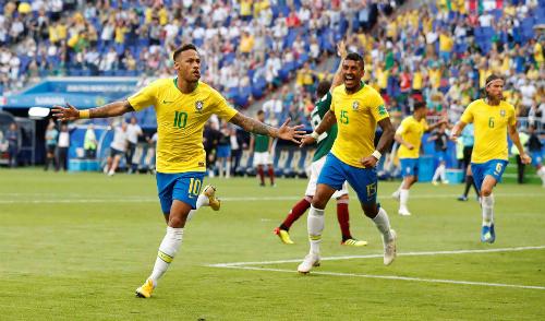 Neymar và đồng đội Brazilở World Cup 2018.