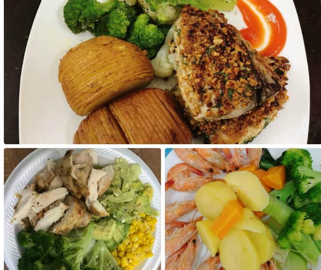 Các bữa ăn ít tinh bột, nhiều rau, đạm mà 8x tự chuẩn bị. Ảnh: T.T