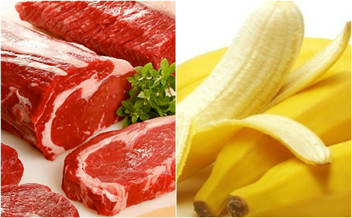 Thịt bò và chuối tiêu được cho là rất tốt cho sự phát triển cơ bắp. Một bữa ăn chỉ toàn với chuối cũng có thể cung cấp đủ năng lượng để duy trì hoạt động thể lực hàng giờ.