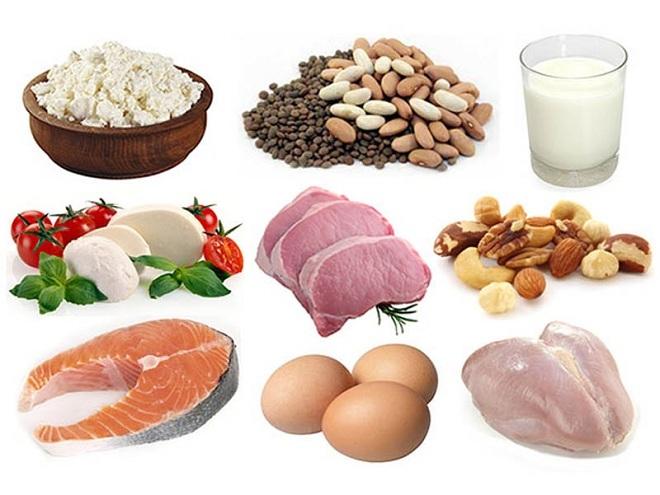 rứng, thịt gà, thịt bò, thực phẩm từ sữa đều là những nguồn cung cấp đạm có lợi cho sức khỏe.