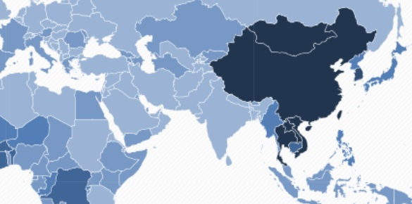 Việt Nam nằm trong nhóm nước có người mắc ung thư gan nhiều nhất, biểu thị bằng màu xanh đậm trên bản đồ ung thư gan thế giới. Ảnh: GLOBOCAN.