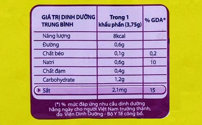 GDA trên nhãn dinh dưỡng của hạt nêm Maggi - sản phẩm của Nestlé Việt Nam.