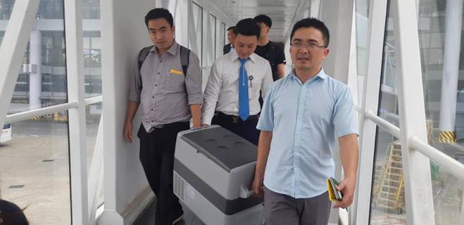 Trái tim được vận chuyển từ Hà Nội đến Huế. Ảnh: Trung tâm Điều phối ghép tạng Quốc gia.
