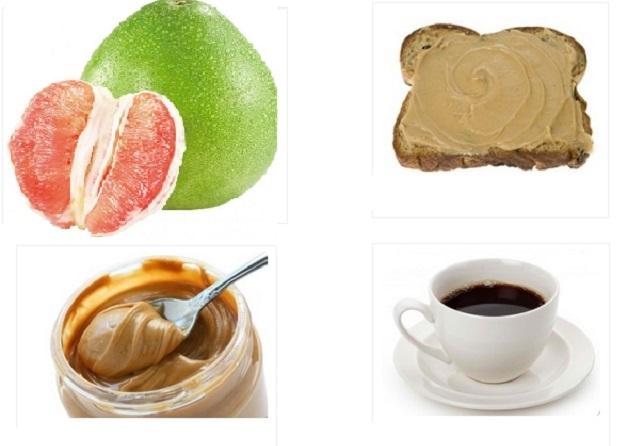 Thực đơn cho bữa sáng của ngày đầu tiên với bánh mỳ nướng, bưởi, bơ và cà phê