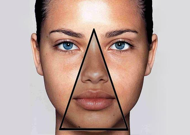 Vùng tam giác được đánh giá là tam giác tử thần trên khuôn mặt.