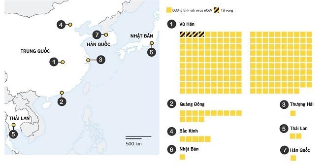 Các khu vực bị ảnh hưởng bởi bệnh viêm phổi, số người mắc bệnh và số ca tử vong (dữ liệu đến ngày 21/12). Ảnh: Đài truyền hình Trung ương Trung Quốc