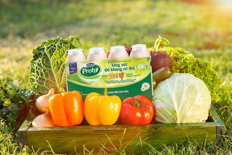 Rau củ quả chứa nhiều vitamin và khoáng chất, sữa chua uống men sống Probi chứa lợi khuẩn đều tốt cho tiêu hóa và sức khỏe. Ảnh: Shutterstock