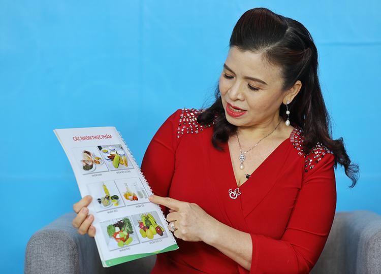 Bác sĩ Diệp chia sẻ về các nhóm thực phẩm cần có trong bữa ăn hàng ngày. Ảnh: Quỳnh Trần.