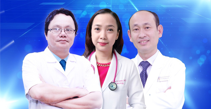 Từ trái qua: bác sĩ Trương Hữu Khanh; thạc sĩ, bác sĩ Nguyễn Hiền Minh;hạc sĩ, bác sĩ Bùi Ngọc An Pha.