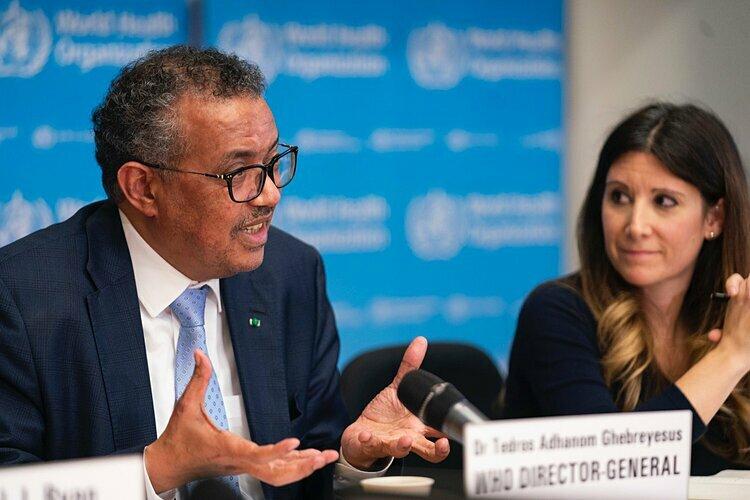 Tổng giám đốc WHO Tedros Adhanom Ghebreyesus trong cuộc họp báo tại Geneva, Thuỵ SĨ ngày 2/3. Ảnh: