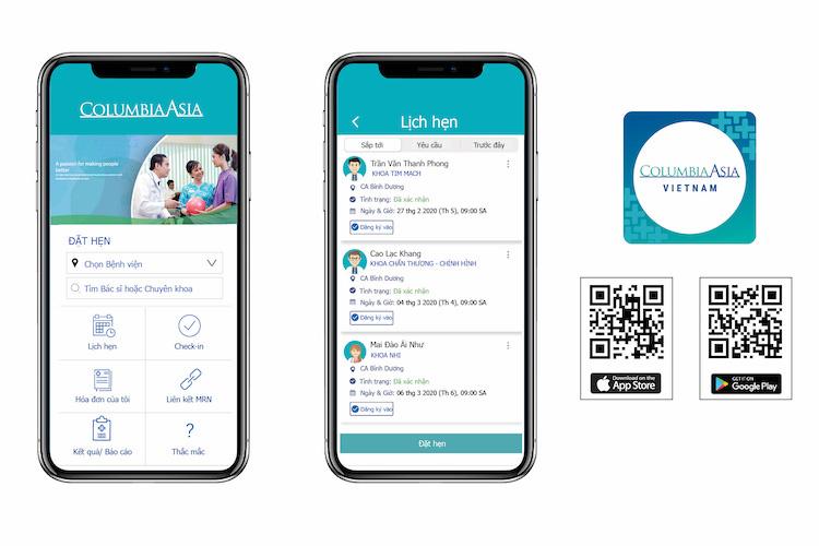 Giao diện ứng dụng Columbia Asia Vietnam bằng tiếng Việt, thân thiện, dễ sử dụng, có mặt trên cả hai hệ điều hành Android và iOS.