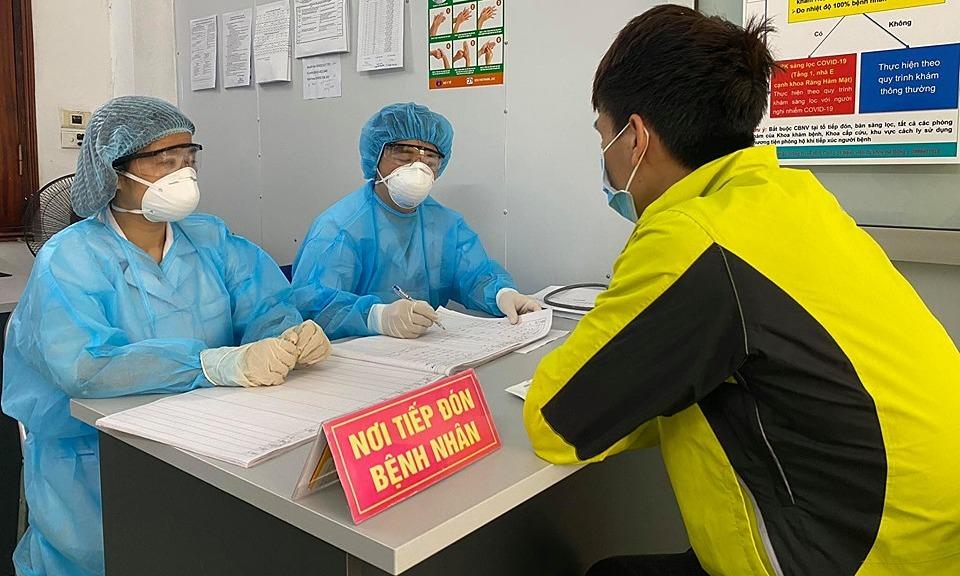 Phòng khám sàng lọc bệnh nhân Covid-19 tại bệnh viện Hà Đông, Hà Nội. Ảnh: Thuỳ An.