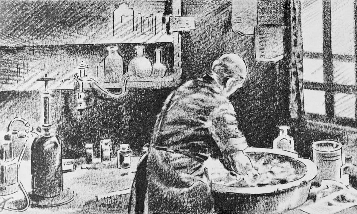 Bác sĩ Ignaz Semmelweis rửa tay trong nước vôi clo hóa trước khi làm việc. Ảnh:Bettmann